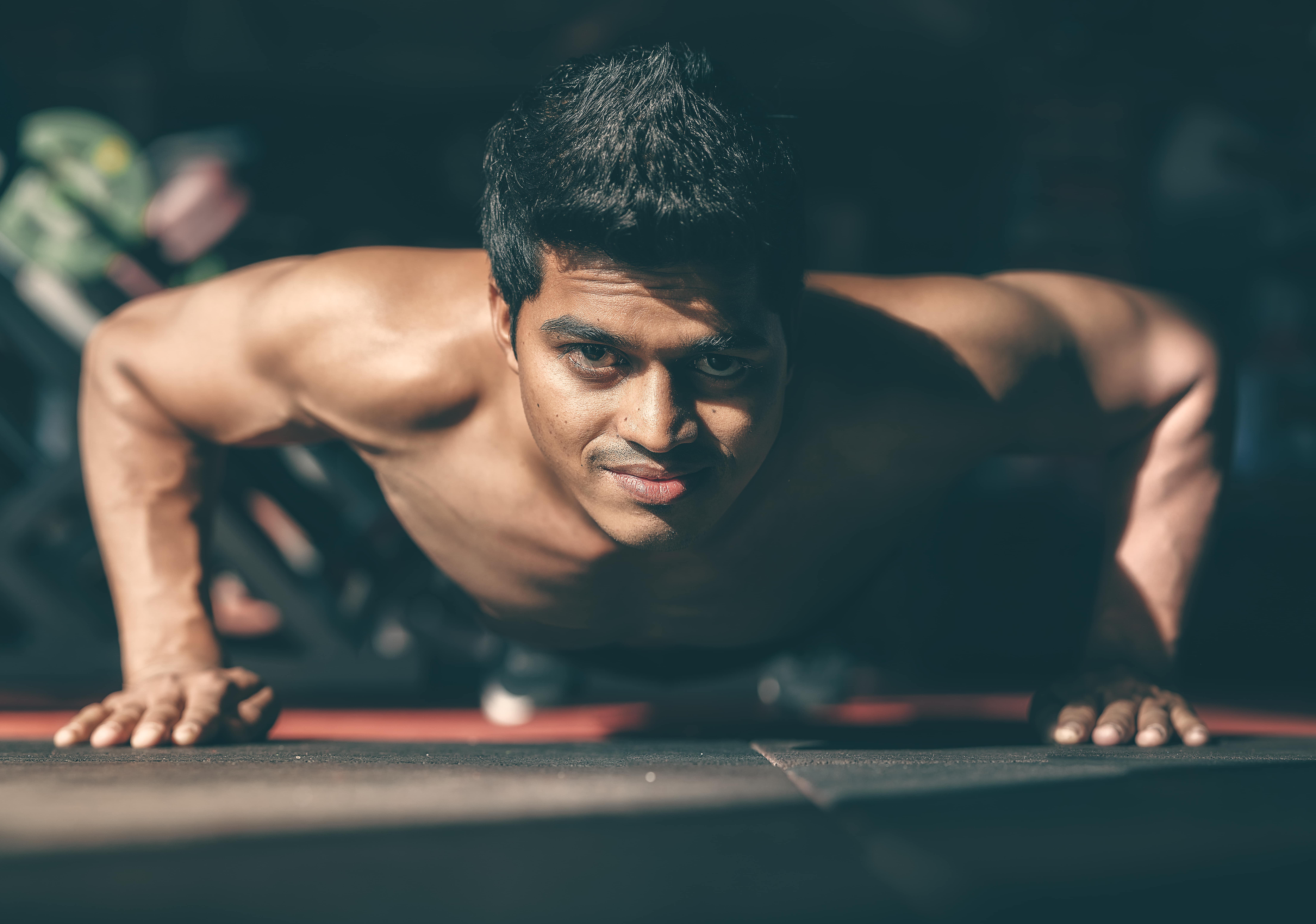 man training at gym